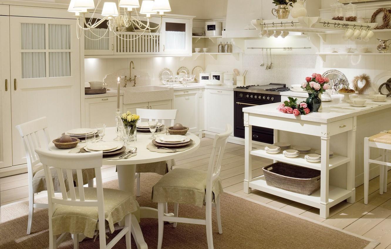 Photo wallpaper white, table, chairs, roses, interior, kitchen, vase