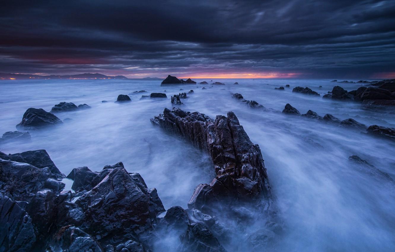Photo wallpaper the sky, landscape, sunset, clouds, stones, rocks, shore, the evening, horizon, twilight, Spain, The Bay …