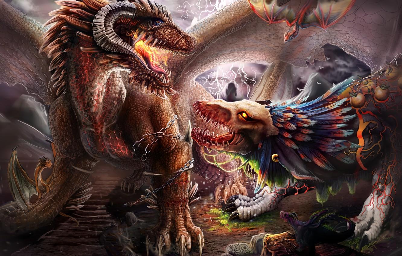 Photo wallpaper dragon, mystic, fantasy, art, creatures
