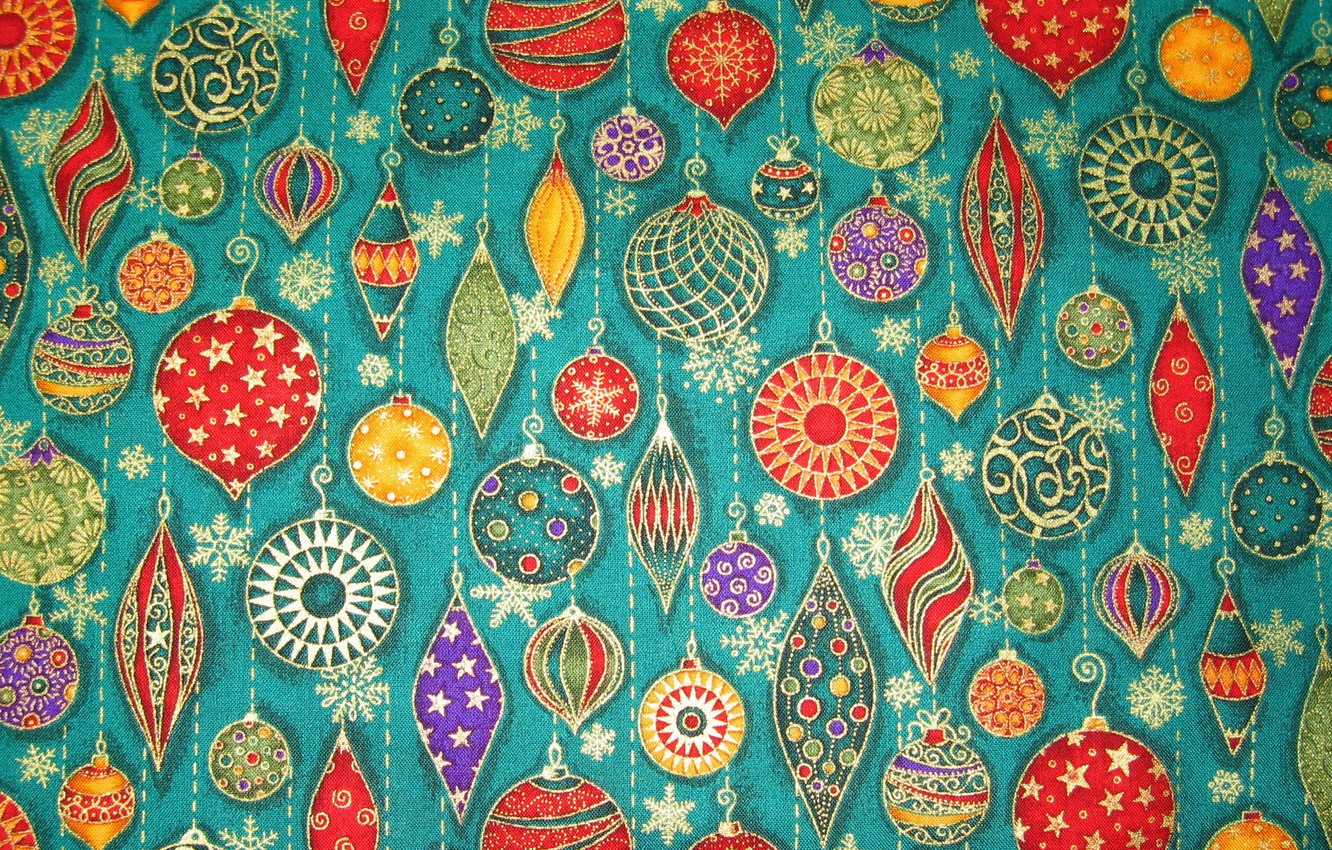 Photo wallpaper balls, decoration, snowflakes, toys, new year, Christmas, icicles, fabric, patch, applique