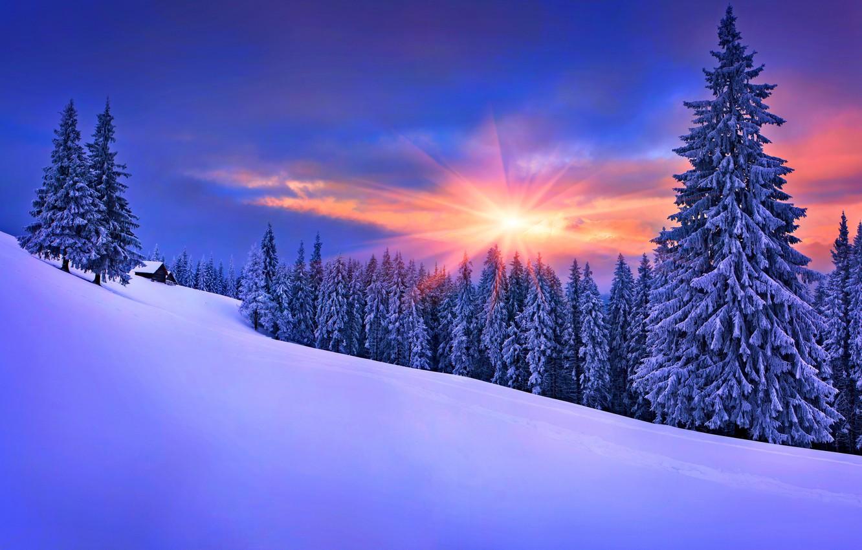 Wallpaper winter, the sky, snow, landscape, nature, house, house