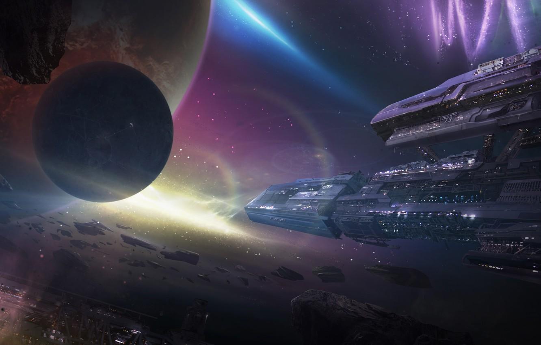 Photo wallpaper space, nebula, planet, ships, station, art, meteorites