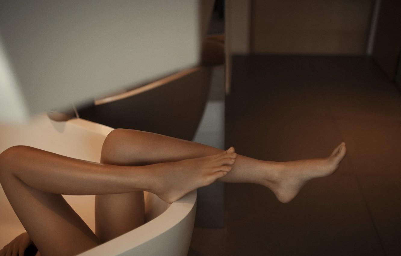 Photo wallpaper girl, pose, feet, bath