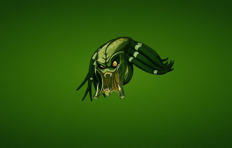 Photo wallpaper green, minimalism, predator, head, evil, predator