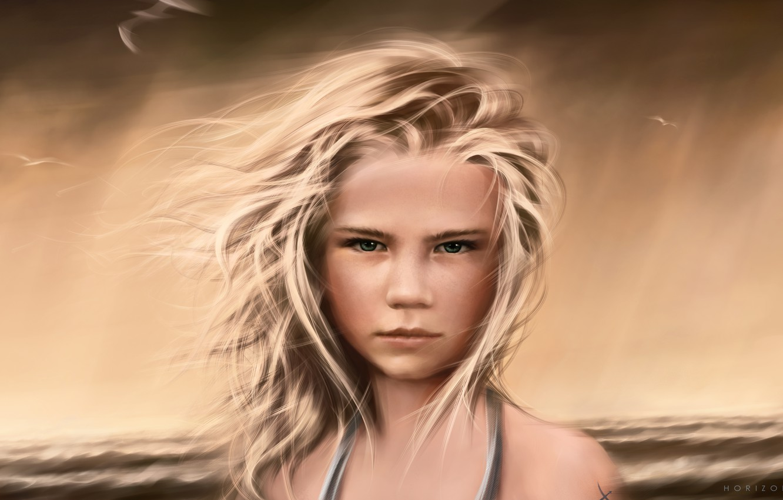 Photo wallpaper sea, wave, girl, storm, the ocean, the wind, shore, hair, seagulls, horizon