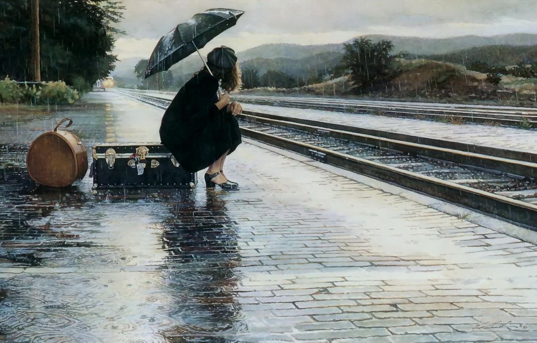 Wallpaper sadness, girl, rain, the platform, suitcase, parting images for desktop, section настроения - download