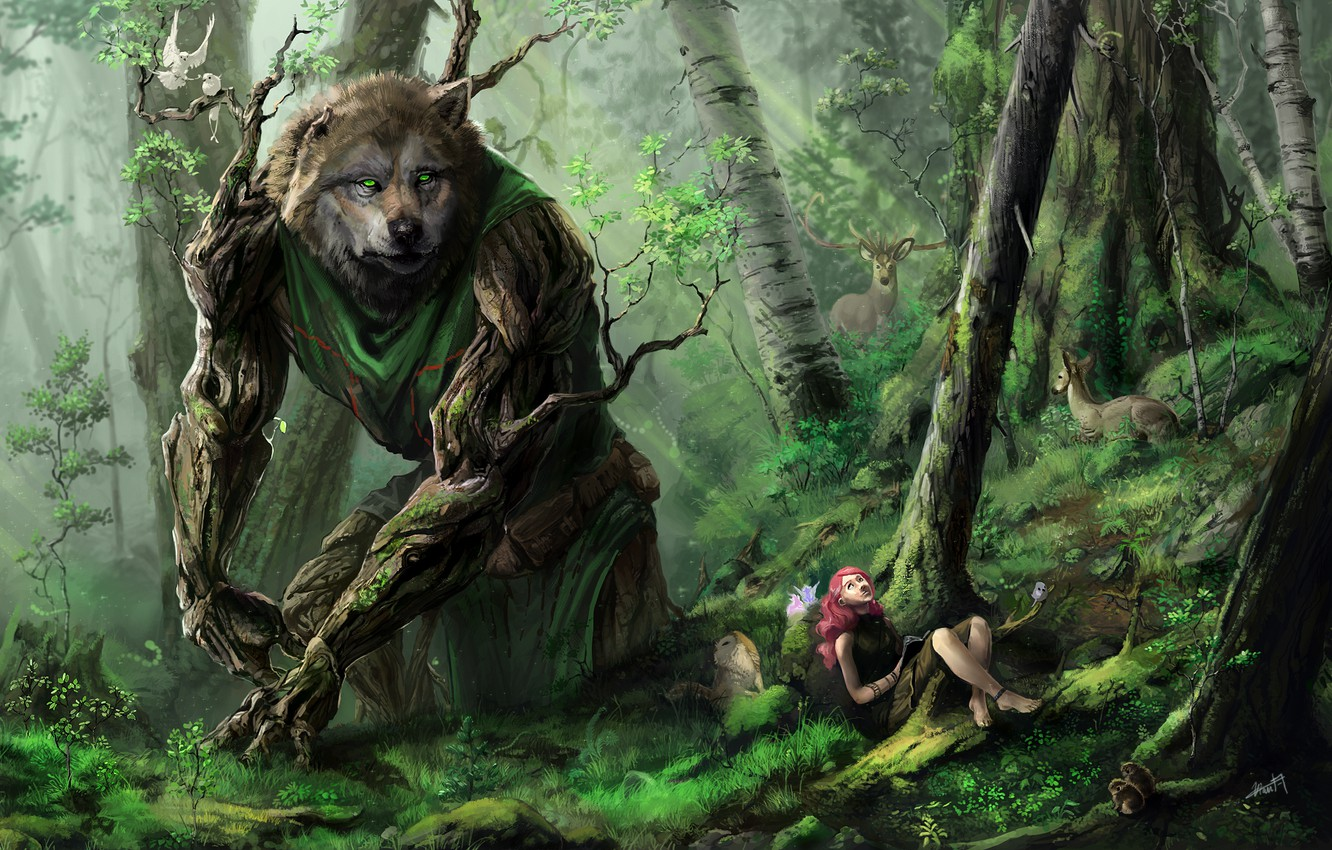 Photo wallpaper forest, girl, trees, animals, wolf, art