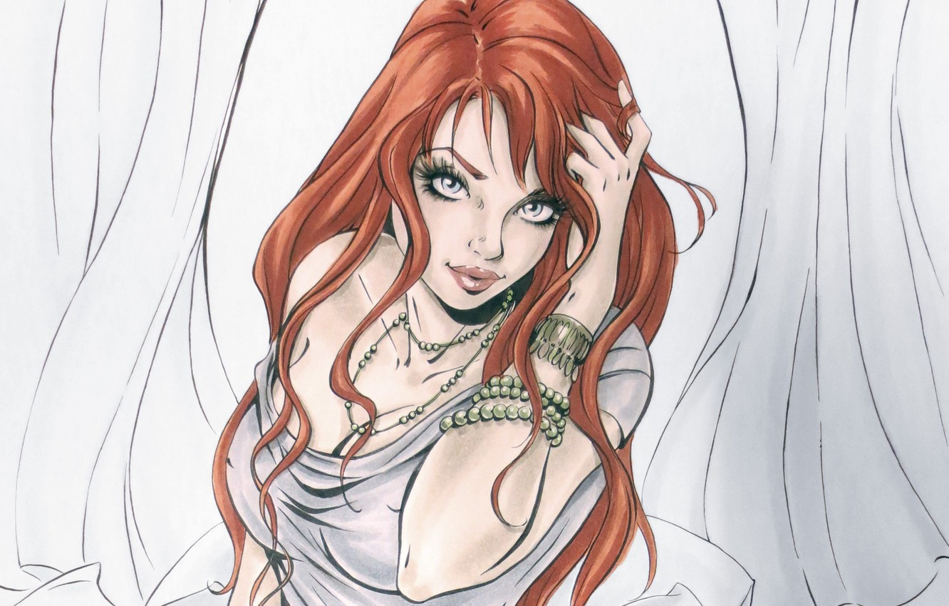 Photo wallpaper look, girl, face, hand, art, red, painting, bracelets, Mary Jane Watson