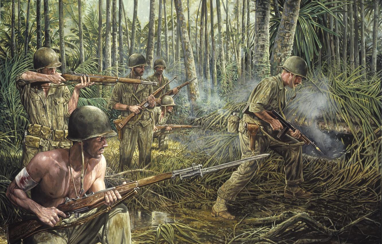 Photo wallpaper grass, weapons, war, smoke, jungle, soldiers, war