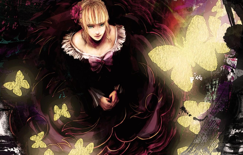Photo wallpaper flower, girl, butterfly, anime, art, bow, umineko no naku koro ni, when the seagulls cry, …