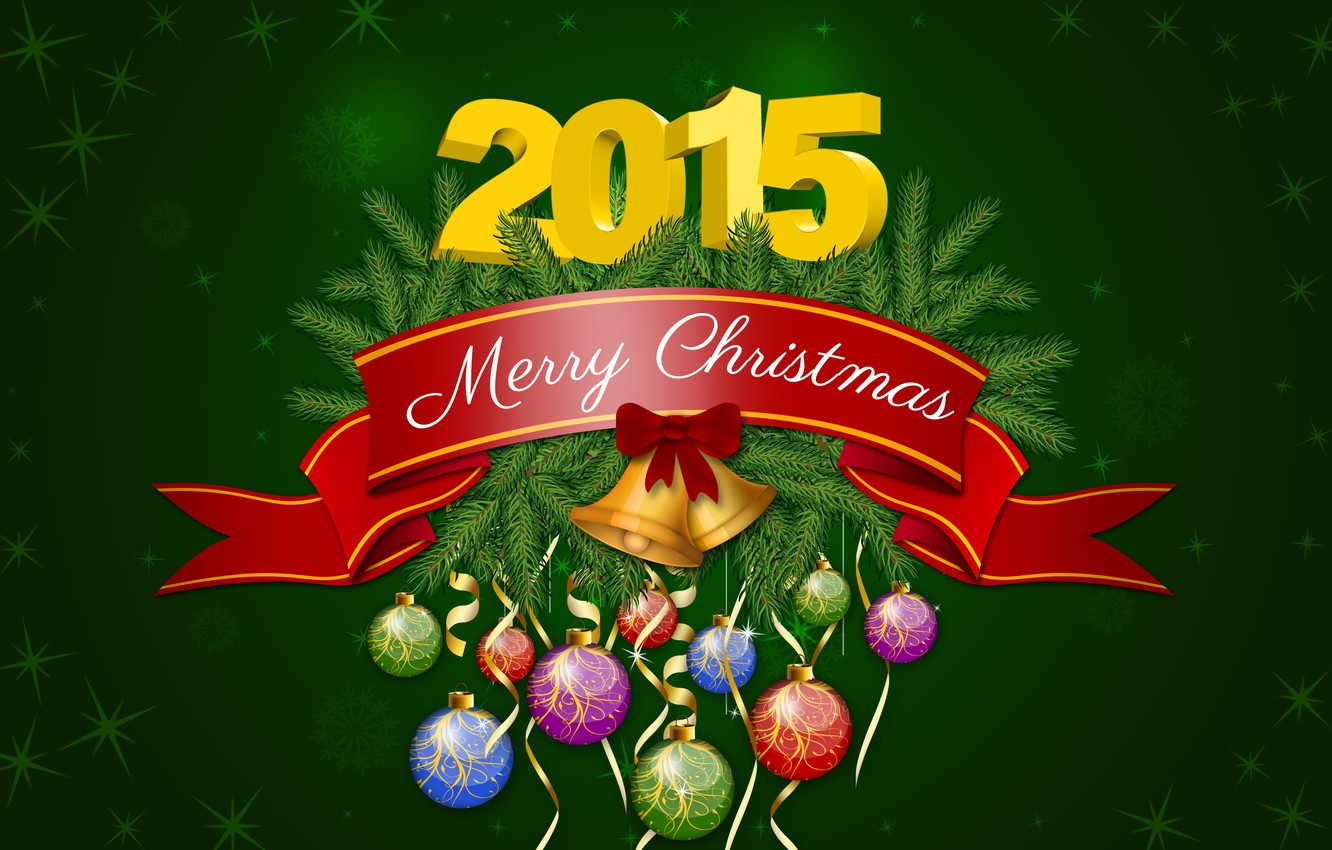 Photo wallpaper Happy New Year, Christmas, Green, New Year, December, Merry Christmas, Holiday, 2015