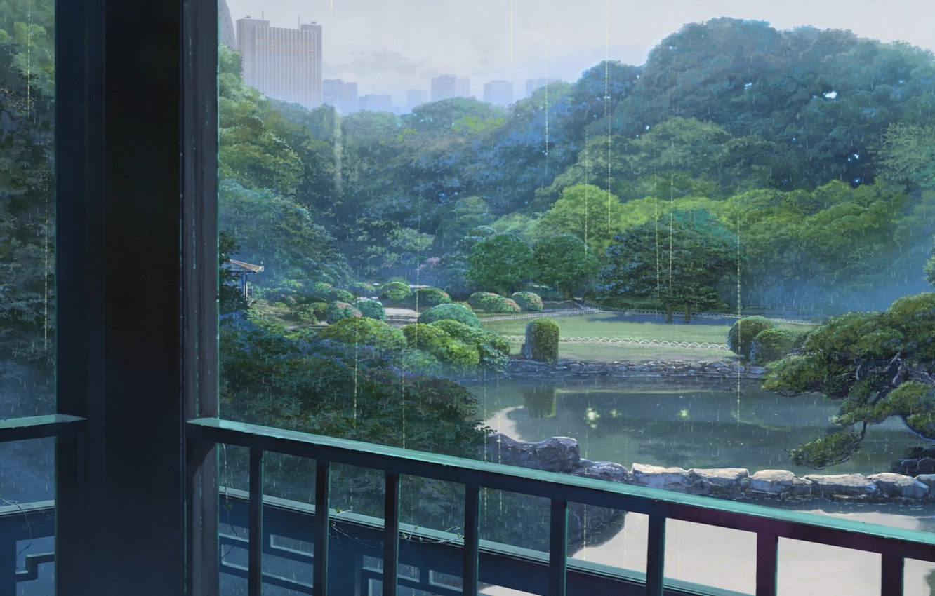 Photo wallpaper Drops, Lake, Trees, Rain, Building, Park, Anime, Makoto Xingkai, Anime, Park, Rain, Lake, Trees, Buildings, …