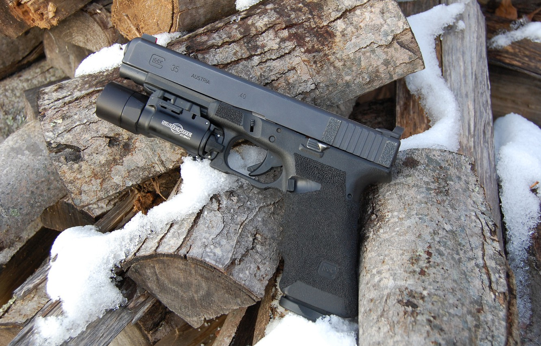Photo wallpaper gun, weapons, Glock 35, self-loading