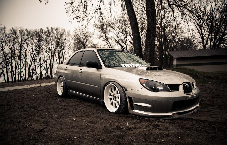 Photo wallpaper Subaru, silver, wrx, impreza, Subaru, sti, Impreza