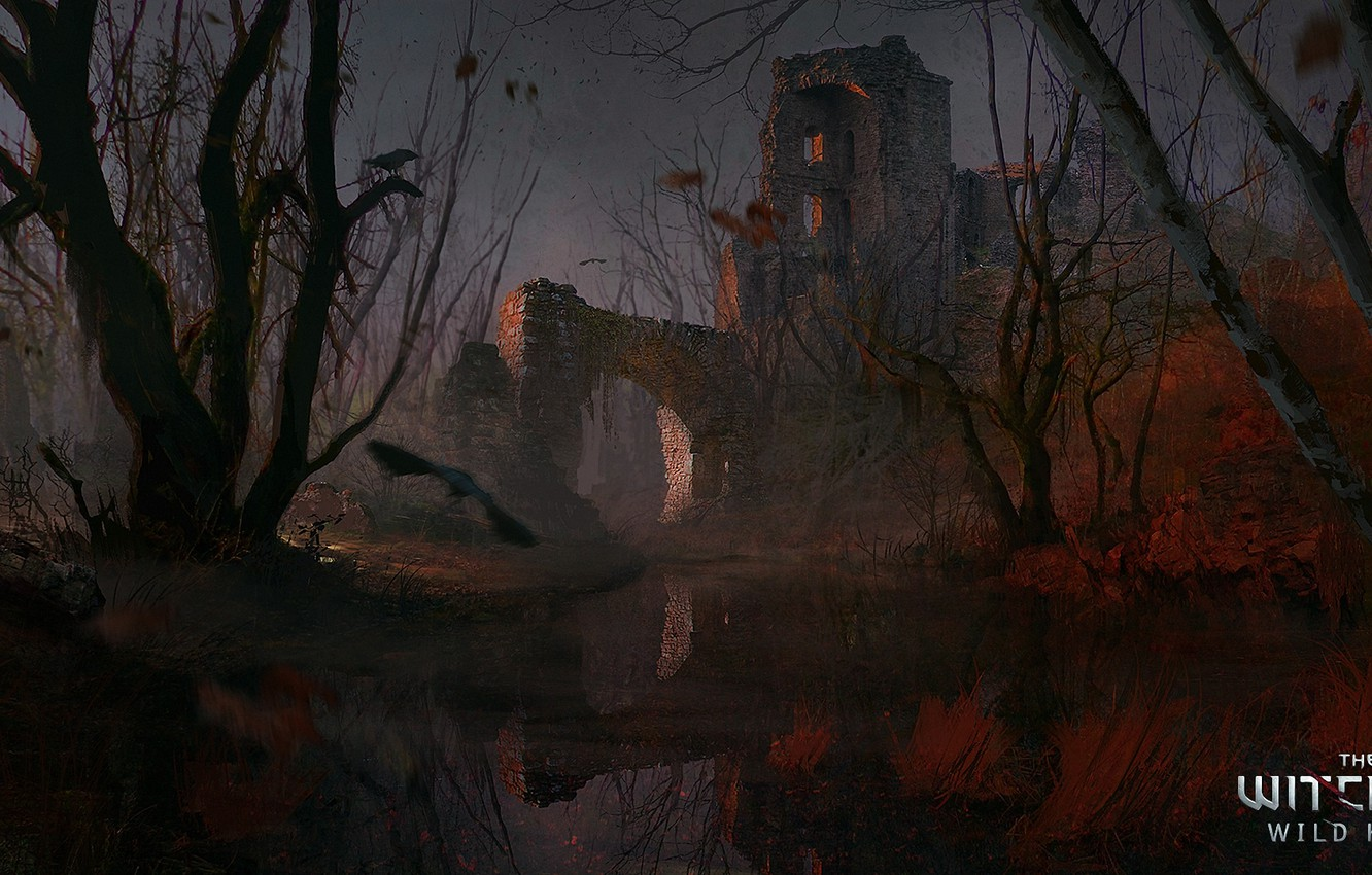 Photo wallpaper castle, swamp, art, ruins, The Witcher, The Witcher 3: Wild Hunt, CD Projekt Red