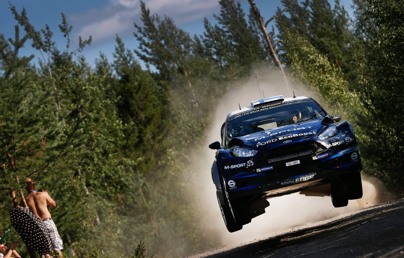 Photo wallpaper Ford, Jump, Ford, WRC, Rally, Fiesta, The front