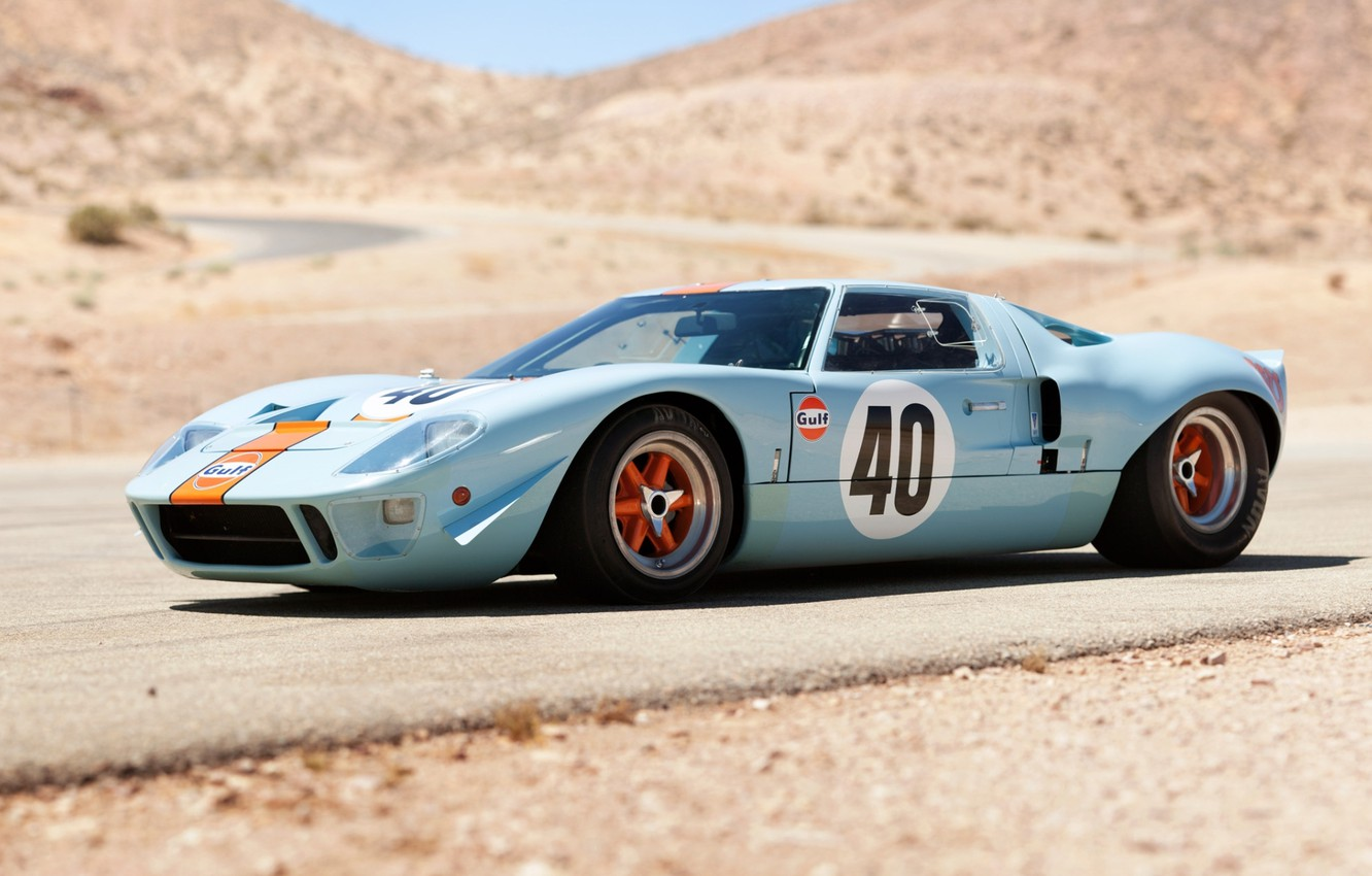 Photo wallpaper road, hills, Ford, The Mans, Ford, supercar, classic, the front, 1968, GT40, Gulf Oil