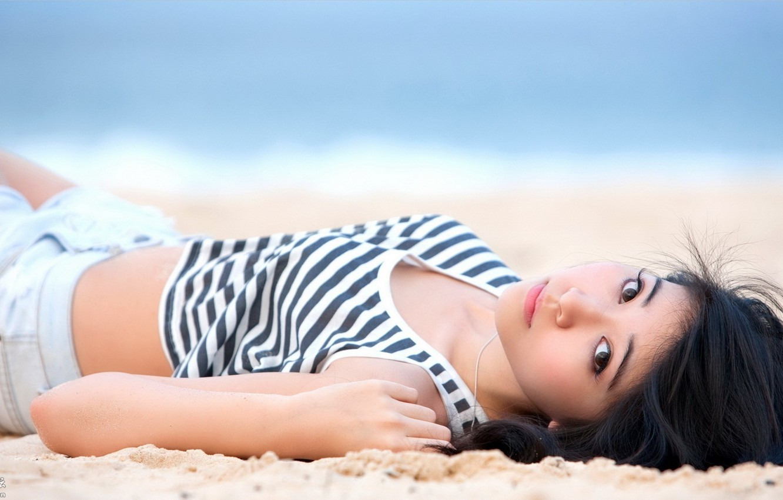 Photo wallpaper Girl, Beautiful, Sexy, Asian, Model, Beach, Beauty, Background, Look, Outdor, Jpanese