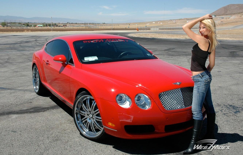 Photo wallpaper road, the sky, girl, Bentley, Girls, red car