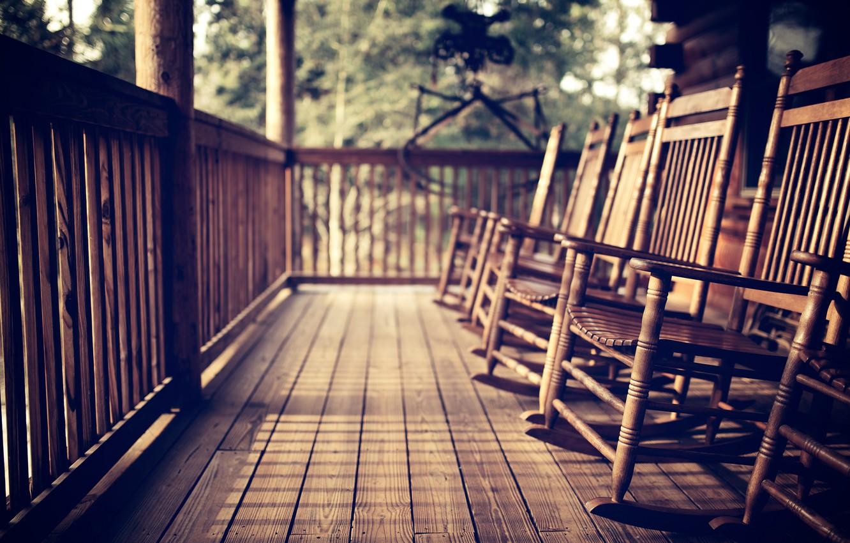 Photo wallpaper tree, chairs, veranda
