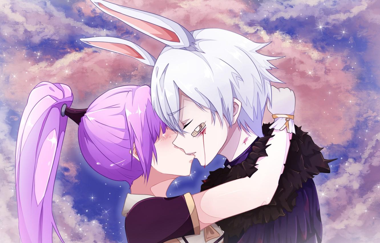 Photo wallpaper Heaven, Clouds, Sky, anime, Female, Rabbit, Purple Background, Enchantress, DragonNest, Lilpanda, Cleric