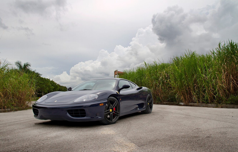 Photo wallpaper tuning, Shine, supercar, drives, double, Ferrari 360, flip-up headlights, sports car