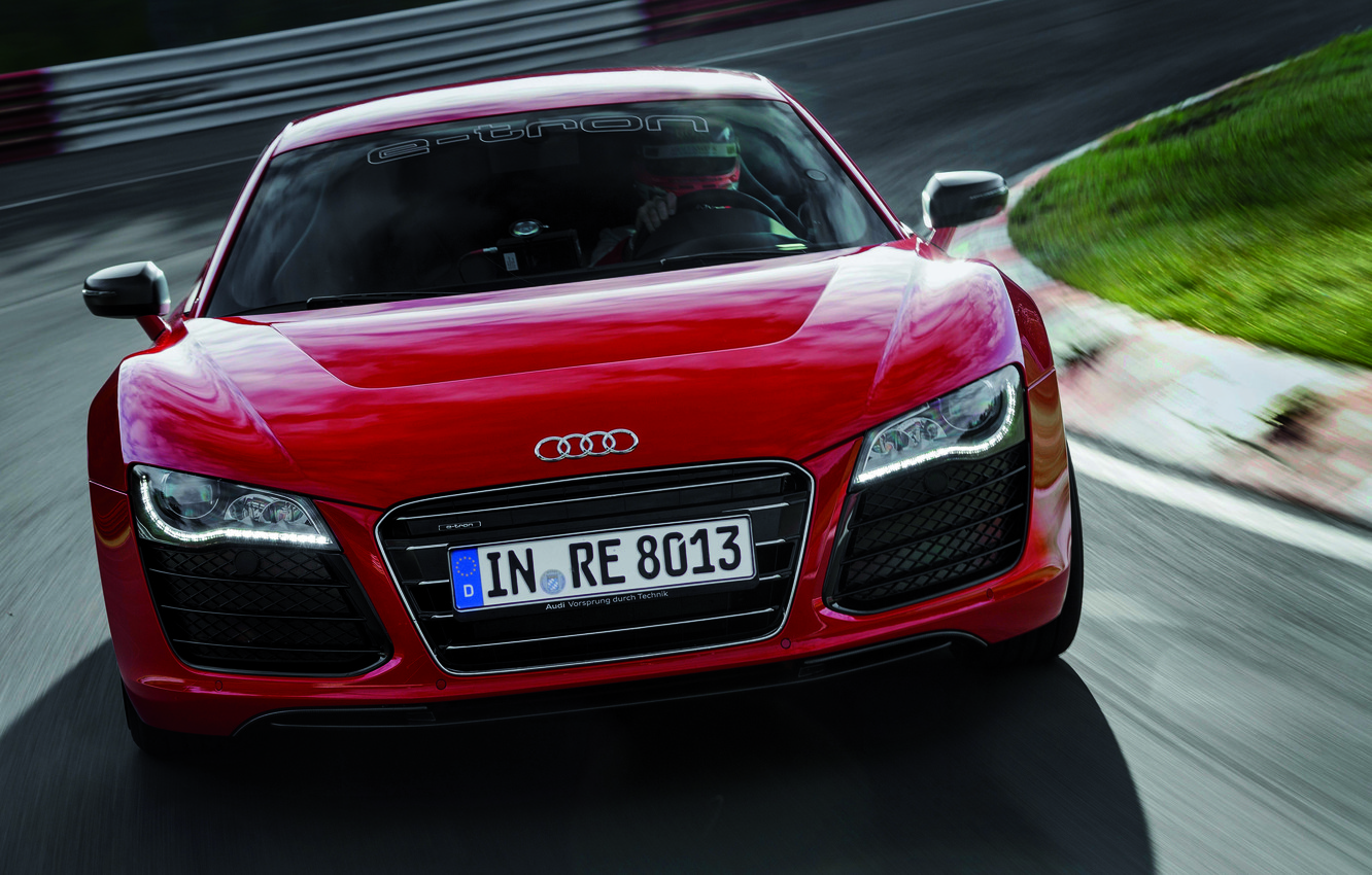 Photo wallpaper Audi, Red, Audi, Logo, The hood, Lights, sports car, The front, R 8