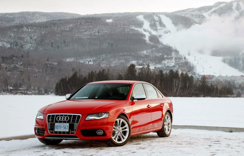 Photo wallpaper winter, mountains, Audi, red, Audi S4