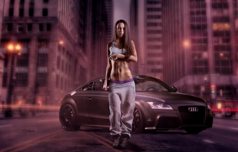 Photo wallpaper Girl, Car, Style, Street, Audi TT, Swag, Croha