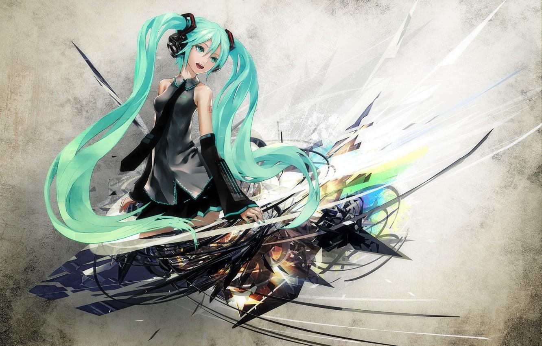 Photo wallpaper girl, headphones, blue eyes, vocaloid, hatsune miku, redjuice, long hair, blue hair, art, Hatsune Miku