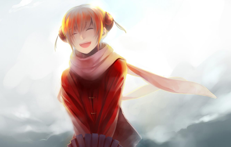 Photo wallpaper girl, smile, laughter, umbrella, scarf, Gintama, Kagura