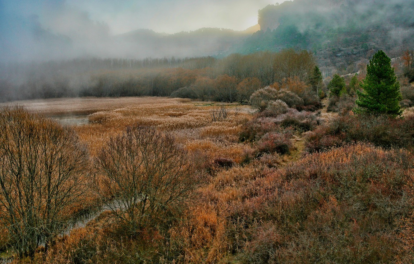 Photo wallpaper autumn, landscape, fog, Bay, gorge, Spain, Laguna, gloomy, Cuenca, or XS in General, what is …