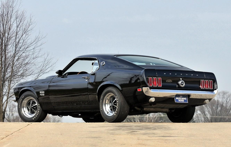 Photo wallpaper black, mustang, Mustang, 1969, back, ford, muscle car, black, Ford, muscle car, boss, 429