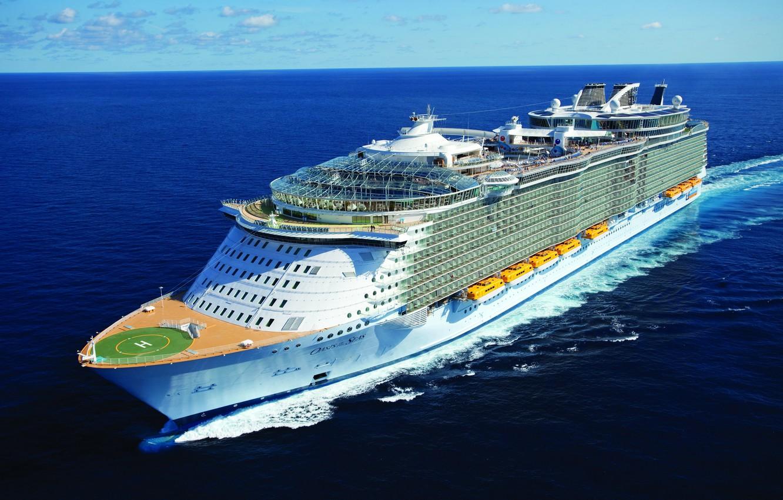 "Photo wallpaper sea, wave, Oasis of the Seas, cruise ship, class Oasis, Wake, ""Oasis of the seas"""