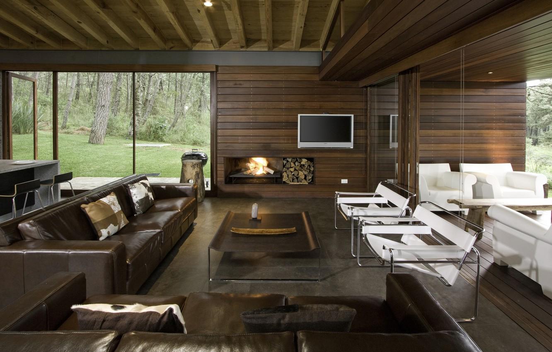Photo wallpaper furniture, interior, TV, fireplace, sofas, crxl