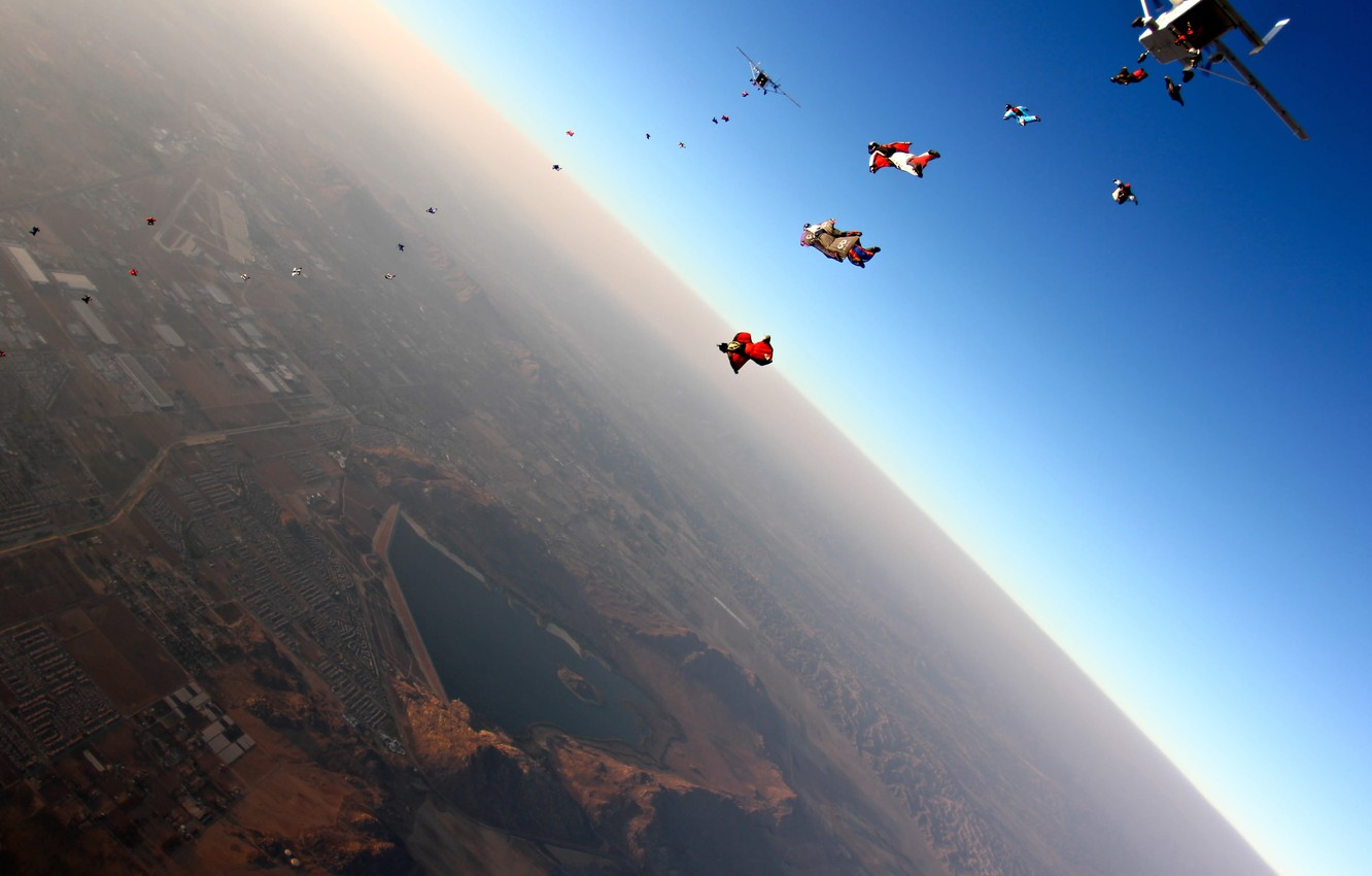Photo wallpaper flight, the city, the plane, jump, skydivers