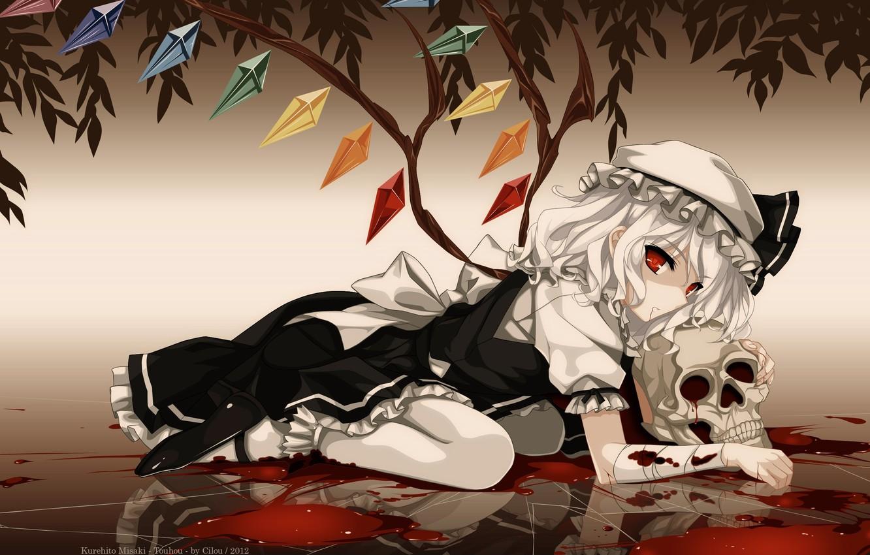 Photo wallpaper skull, red eyes, touhou, art, vampire, a pool of blood, Flandre Scarlet, Kurehito Misaki