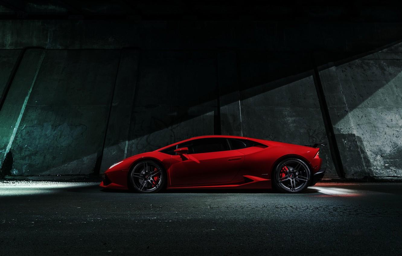 Photo wallpaper Lamborghini, Red, Chicago, Side, V10, Supercar, Exotic, Huracan, LP640-4
