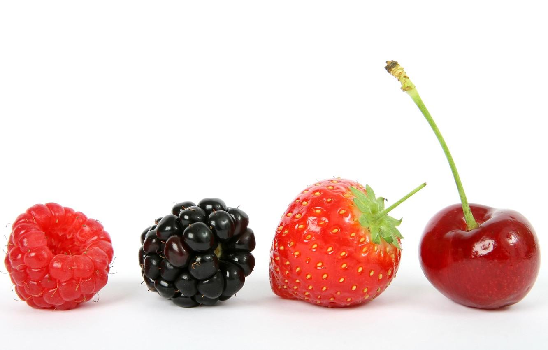 Photo wallpaper cherry, berries, raspberry, strawberry, BlackBerry