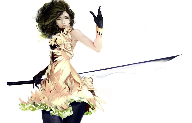 Photo wallpaper girl, dress, art, white background, gloves, look. hair