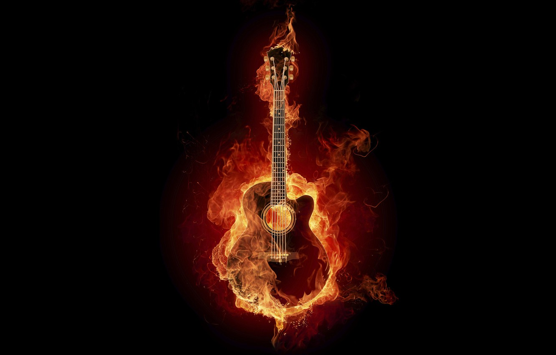 Photo wallpaper called, ardiente, fire, digital effect, guitarra