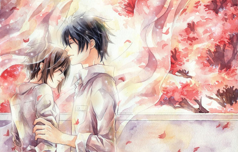 Photo wallpaper anime, art, watercolor, pair, date