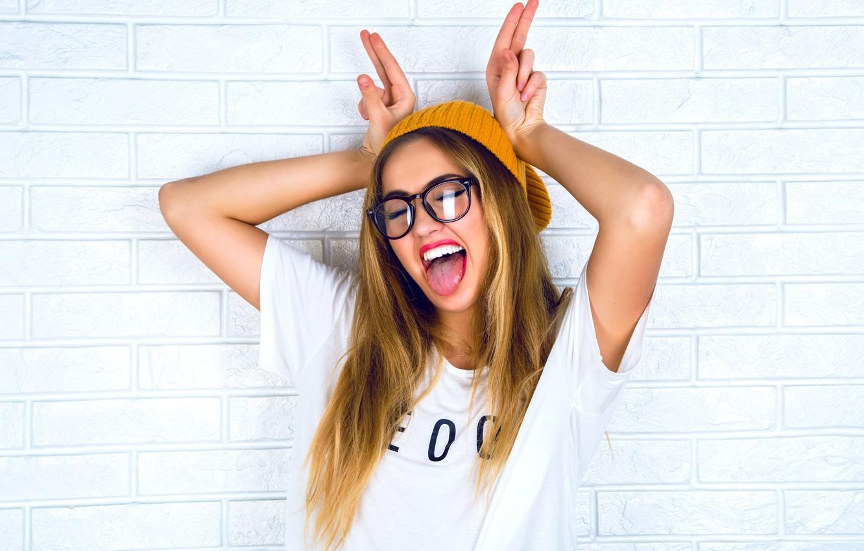 Photo wallpaper girl, mood, lipstick, glasses, Bunny, ears