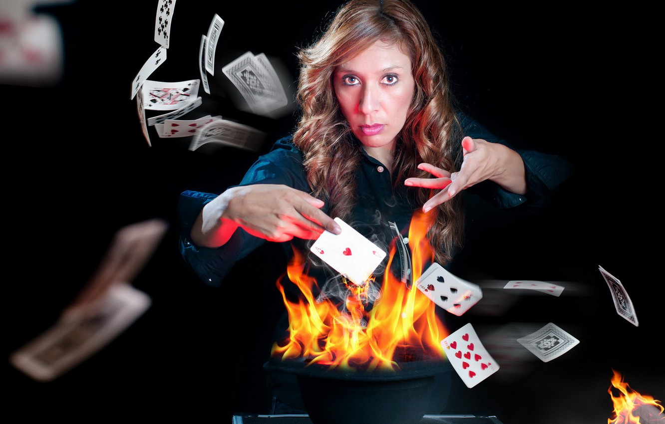 Photo wallpaper card, girl, fire, the game, the situation