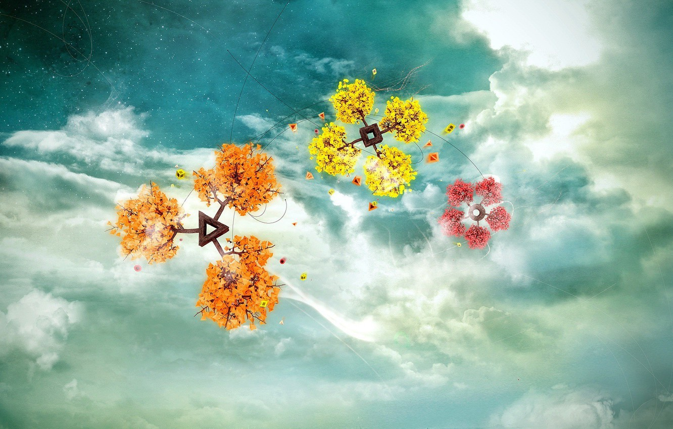 Photo wallpaper the sky, clouds, flowers, fantasy