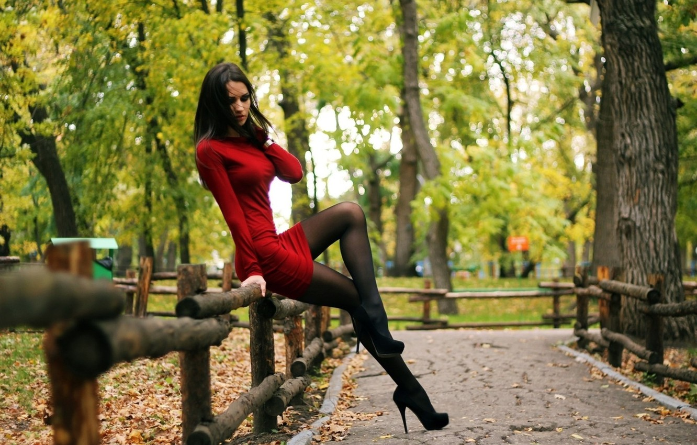 Photo wallpaper girl, sexy, dress, woman, stockings, park, model, heels
