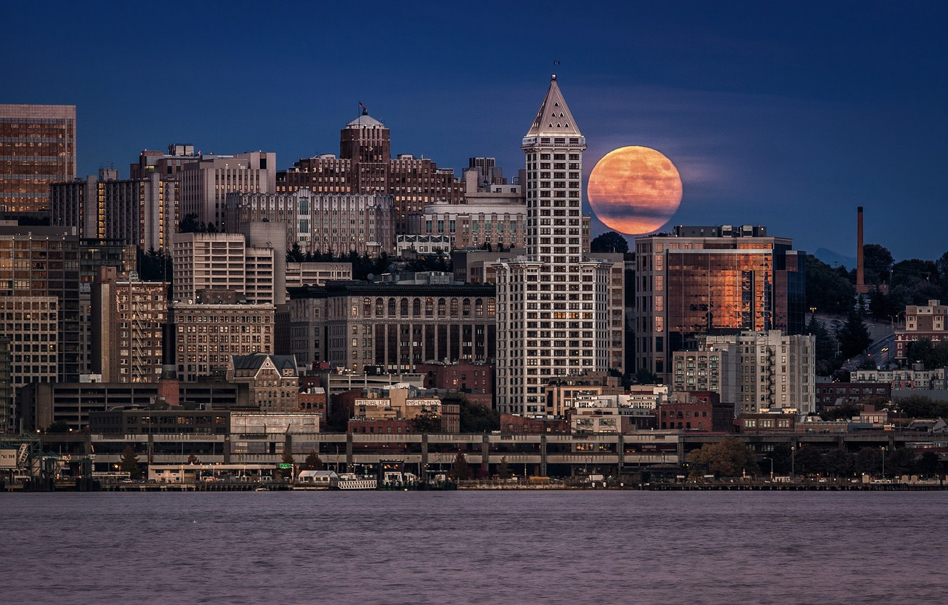 Photo wallpaper night, the city, the moon, home, USA, Seattle