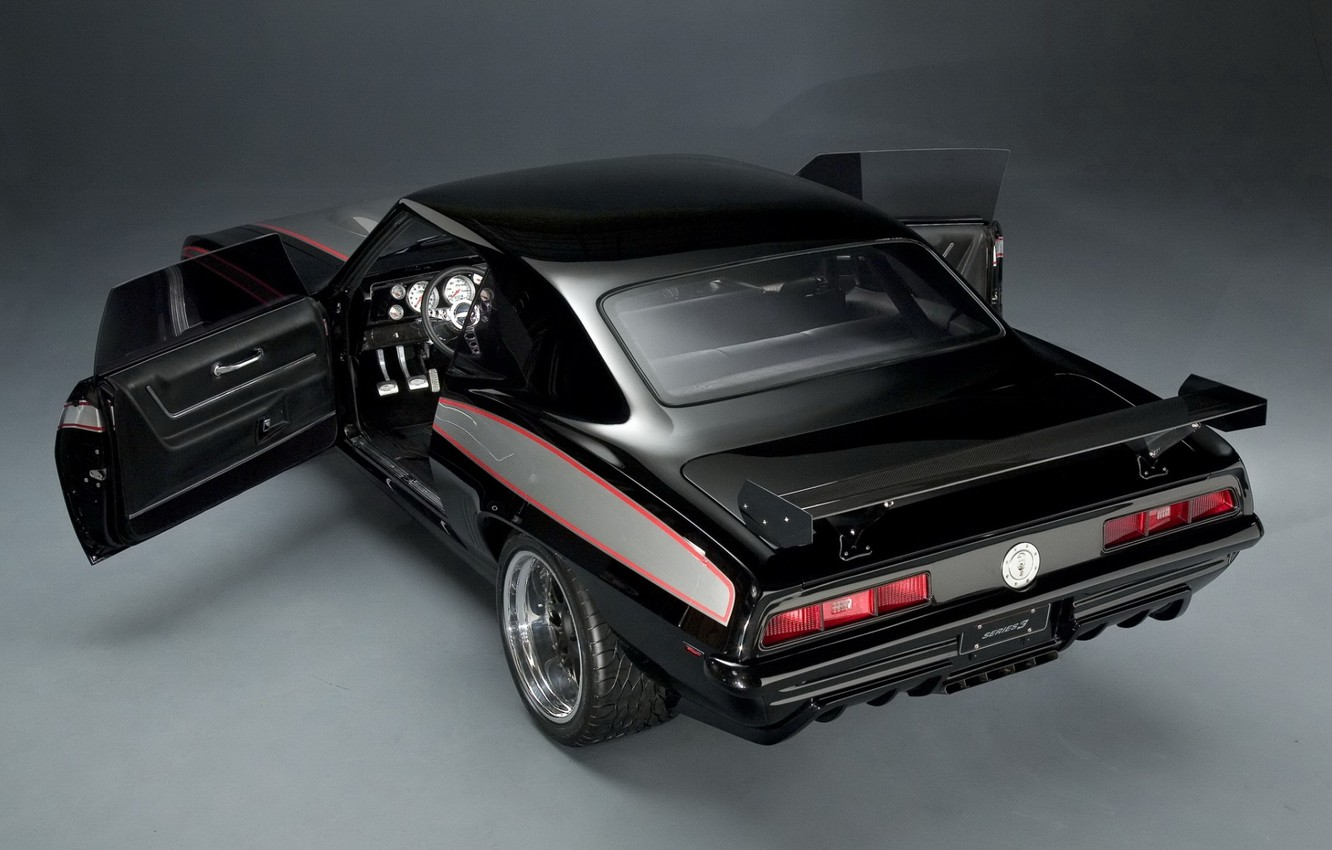 Wallpaper background, black, tuning, coupe, 1969, Camaro