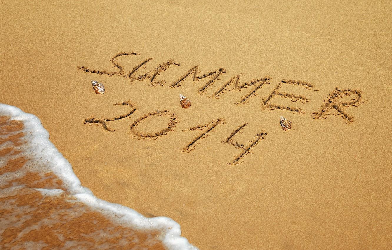 Photo wallpaper sand, sea, beach, summer, the inscription, summer, beach, sand, writing, 2014