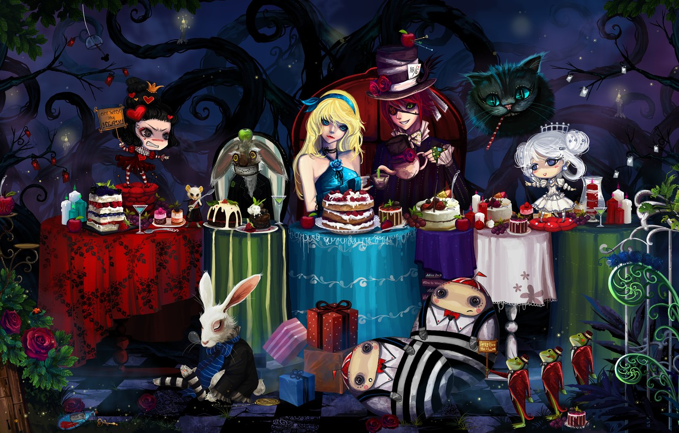 Photo wallpaper mouse, rabbit, tables, frogs, cake, Alice in Wonderland, Hatter, Cheshire